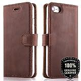 SURAZO Premium Vintage Ledertasche Schutzhülle Wallet Case aus Echtesleder Nubukleder Farbe Nussbraun für Huawei P10