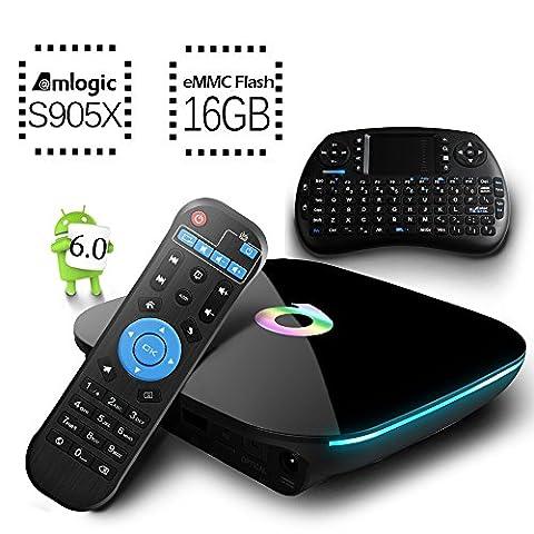 [Free Mini Keyboard] 2017 Model Globmall Android 6.0 TV Box, QBox Android TV Box AmlogicS905X 64 Bits 16GB ROM und True 4K Spielen