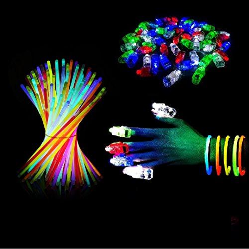 (HAVILAH TECHNOLOGIES (Packung mit 100 Partybündeln Leuchtstäbe Massen-Party-Bündel für Kinder & Erwachsene   Leuchtstäbe (50 Stück)   LED-Fingerlichter (50 Stück) LED-Leuchtstab   LED Finger Lichter)