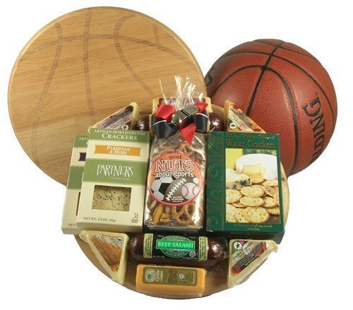 Gift Basket Village Slam Dunk Basketball Gift with Deluxe Cutting Board by Gift Basket Village