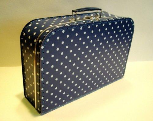 Koffer Pappe, dunkelblau + weiße Punkte, groß, 35cm, Pappkoffer