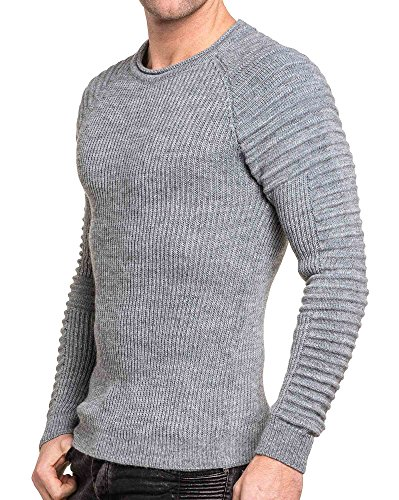 BLZ jeans - Pullover homme gris maille relief Gris