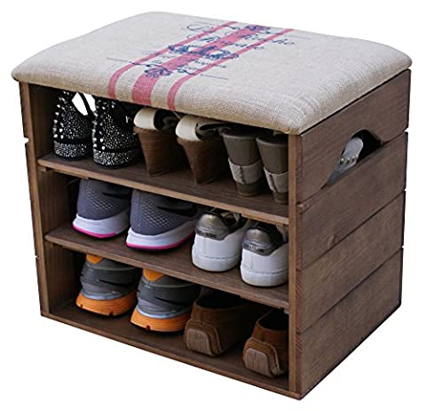 LIZA LINE SHOE RACK (WALNUT BROWN) - Premium Vintage Wooden Shoes Organiser, Storage, Cabinet, Holder Bench with Soft Seat Cushion for Entryway, Hallway. Solid Nordic Wood. 51 x 47 x 35 cm (Red
