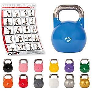 POWRX Competition Kettlebell 4 – 48 kg in Studio-Qualität inkl. Workout | Wettkampf Kugelhantel Schwunghantel Rundgewicht in versch. Farben