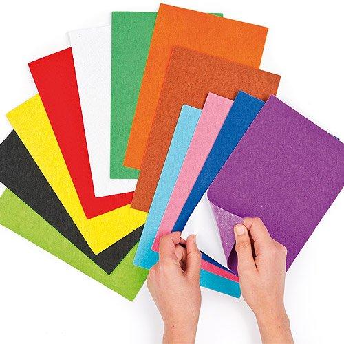 Lot de 18 Feuillets Autocollants en Feutrine de différentes couleurs - Idéal pour les loisirs de collage et toute sorte de décoration