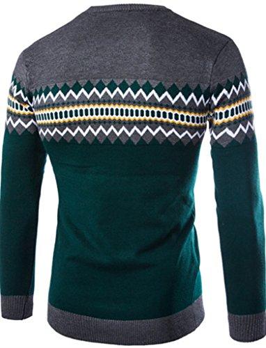Elonglin Herren Herbst Winter Sweatshirt Pullover Langarmshirt gemustert Grau / Grün