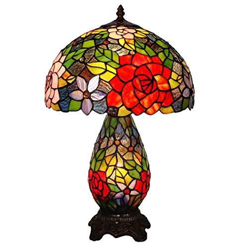 GGPUS 15-Zoll-Tischleuchte im Tiffany-Stil, europäische Tischlampe mit Rosette mit Harzbasis und Glasmalerei, Schlafzimmer-Couchtisch Wohnzimmer Schreibtisch Nachttischlampe 40W