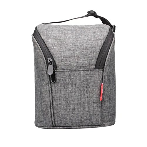 Borsa termica, formato biberon, leggera, isolante, portatile, con chiusura zip gray