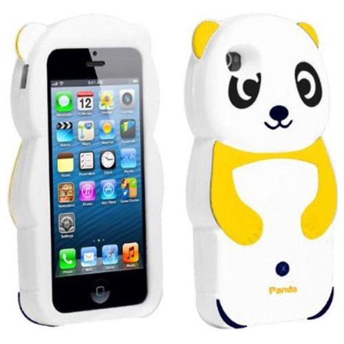 Gadget Zoo Coque en silicone en forme de panda 3D pour iPhone 5 et 5S Orange - Orange Jaune - Jaune