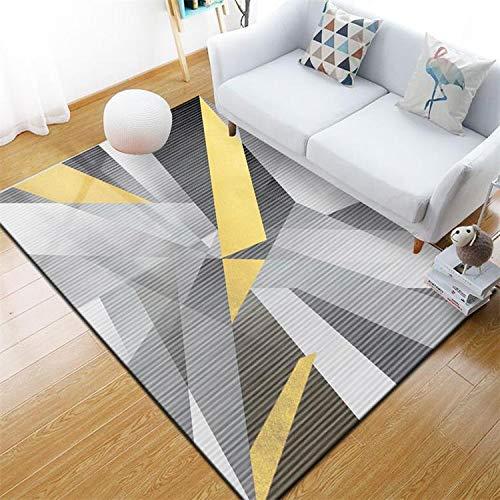 Soft Pile Moderne Rutschfeste Gelb Grau Streifen Teppich 8mm Dicke Wohnkultur Esszimmer Kinder Schlafzimmer für Innen Wohnzimmer,120z160xm (Kinder Streifen-teppich)