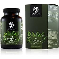 Bio Curcuma (Kurkuma) Kapseln - 3900 mg je Tagesdosis. 180 Kapseln. Laborgeprüft & zertifiziert Bio. Mit Curcumin und Piperin. Ohne Magnesiumstearat. Hochdosiert, vegan, hergestellt in Deutschland
