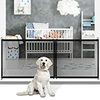 Magic Pet Gate for Dogs-Gate for Stairs-Adjustable Zipper Design 3 Sizes 210cm /120cm /90cm -Dog Gates for Doorways-Indoor Protective Fence-Mesh Dog Gate for Stairs(Black)