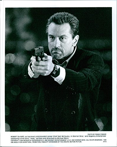 "Vintage photo of Robert De Niro as top-level cold-blooded career thief Neil McCauley in a sweeping crime story ""Heat""."