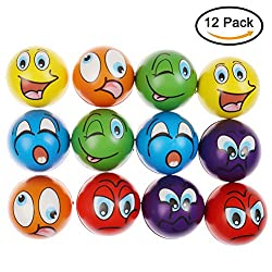 "Wanting 12 Pcs Stress Ball Squeeze Balls Multi-colored Funny Face Squishy Balls Finger Exerciser Stress Reliever Toy Set (2.5"" Diameter)"