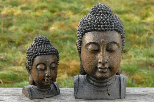 Buddhakopf, Buddhakopf-Statue aus Kunstharz, 1 Stück, ca. 17 cm x 15 cm x 26 cm