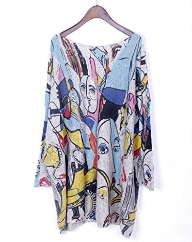 Bigood Pull Robe Femme Tricot Sweat-shirt Manche Chauve-souris Col Rond Motif Personnage Gris