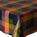 PVC Tablecloth Multi Check 2 Metres (200cm x 140cm), Multi Coloured Boxes Checked Squares Floral, Navy Blue Moss Green Yellow Deep Red Orange, Wipe Clean, Vinyl / Plastic Table Cloth
