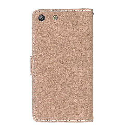 Solid Color PU-Leder Tasche horizontal matt Retro Flip-Stand Case Wallet Fall weichen Silikon-Abdeckung mit Karte Cash Slots Foto Frame für Sony Xperia M5 E5603 E5606 E5653 ( Color : 3 , Size : Sony X 5
