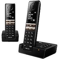 Philips D4652B Duo 2 Téléphones Fixes sans Fil avec Répondeur, Haut Parleur, Coupure de la Sonnerie, Compatibles toutes Box FR, Noir