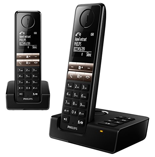 Philips D4652B/FR - Teléfono (Teléfono DECT, Terminal inalámbrico, Altavoz, 50 entradas, Identificador de Llamadas, Negro)