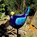 Wetterfester Keramik Gartenstecker Zaunkönig Blau, Türkis, handgefertigt und handbemalt