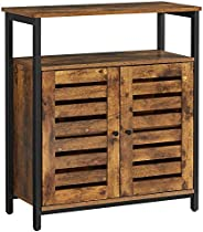 VASAGLE LOWELL Standing Cabinet, Storage Cabinet, Accent Side Cabinet with Shelf, Cupboard with Louvered Doors