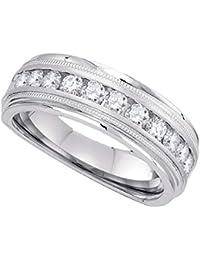 Anillo de boda de oro blanco de 10 quilates para hombre, redondo, de diamante