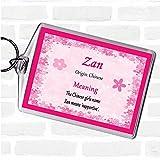 Zan Name Meaning Bag Tag Keychain Keyring Pink