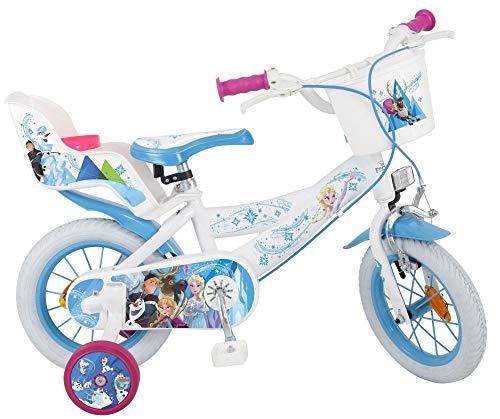 Unbekannt 12 Zoll Mädchenfahrrad Kinderfahrrad Kinder Fahrrad Bike Rad Frozen Disney Eiskönigin ELSA New WEIß (Kinder Fahrrad Korb Vorn)