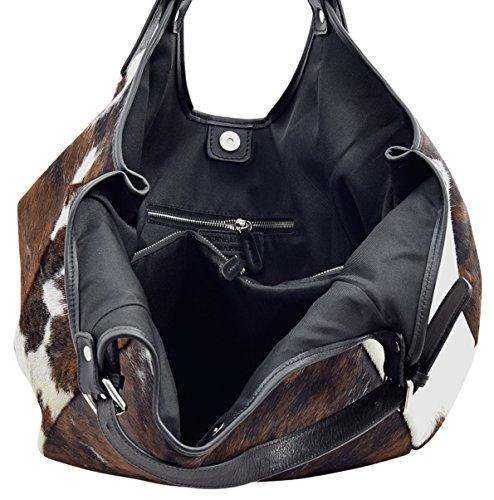 MIRENA Shopper Borse Donna Borse Tote Vera Pelle Made in Italy Lavorazione Artigianale Nero Pelliccia
