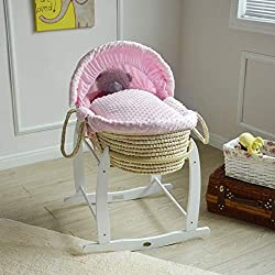 Mcc® Full Set Deluxe Palm Wicker Moses Basket With Dressing & Rocking Stand (Palm, Pink)