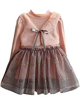 Mädchen Kleid, Honestyi Kinder Kleidung Baby Mädchen Winter Niedlich Lange Kleidung Bowknot Pullover Patchwork...