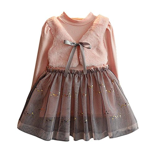 Mädchen Kleid, Honestyi Kinder Kleidung Baby Mädchen Winter Niedlich Lange Kleidung Bowknot Pullover Patchwork Prinzessin Kleid (Rosa, 4T/100CM) 4t Kleid