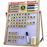 Srmaji Educational Learning Board Multipurpose Double-Sided Magnetic Wooden Writing Learning Board Educational Board For Kids | Mathematical Calculations & English Alphabets, White And Black Board For Kids Drawing Board With Abacus, Learning Magnetic