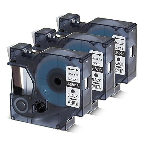 3er Schriftband Kompatibel für Dymo D1 45013 S0720530 Schwarz auf Weiß 12mm x 7m für LabelManager LabelPoint LabelWriter LM160/LM210D/LM260P/LM280/LM360D/LM420P. …