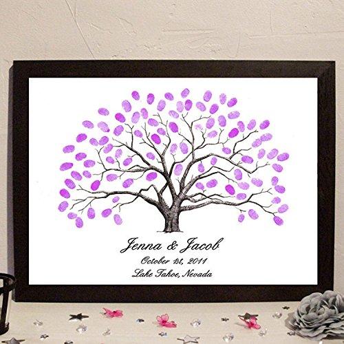 Klassentreffen Hochzeiten Ehe Fingerabdruck Unterschrift Zeichen im Baum Baum Persönlichkeit kreativ Hochzeit Zubehör , 40x60cm (oil painting)