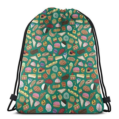 Desserts of NYC Green Cream Drawstring Backpack Bag Gym Sack Sport Beach Daypack for Girls Men & Women Teen Dance Bag Cycling Hiking Team Training 17 X 14 Inch (Nyc Store Elf)