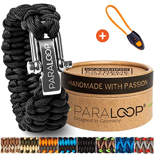 PARALOOP ORIGINAL ▪ Paracord Armband für Herren/Männer + Anhänger mit Signalpfeife ▪ Schwarz ▪ inkl. Geschenkbox ▪ Verschluss aus Edelstahl ▪ Bracelet