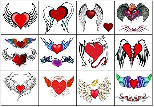 Collezione di tatuaggi temporanei temporary tattoos collection (tatuaggio cuore angelo angel heart tattoo)