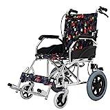 XSSD001 Behindertenrollstuhl, Rollstuhlgeklappter Leichtgewichtsrollstuhl, Aluminiumrollstuhl, Manueller Rollstuhl, Klappbarer Reisesitzrollstuhl, Abnehmbar, Tragbar, Für Ältere Menschen,B,1