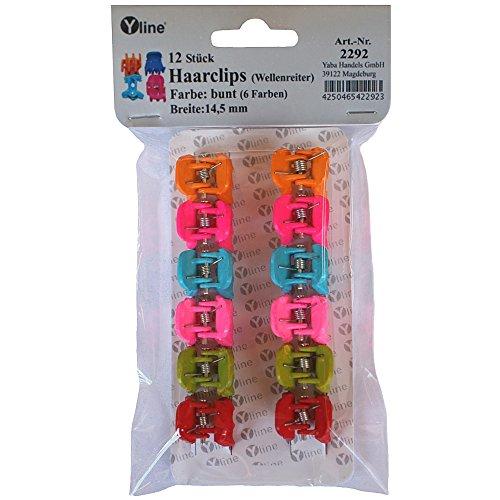 12 Stück Mini Haarclips Zopfclips bunt (6 Farben), Greifspangen Wellenreiter Mädchen Haar Clips Klammern, 2292