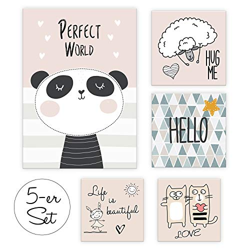 "dejadoo® 5er-Set Poster Kinderzimmer Deko ""Perfect World"" 1x DIN A4 + 2x DIN A5 Quadrat + 2x 12cm Quadrat   ohne Bilderrahmen   rosé, beige, schwarz, grau, weiß   Set-11"