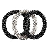 Luxspire Hair Ties, 3PCS Soft Elastic Rubber Women Hair Bands Seamless Ponytail Holders Sports Hair Ring with Glass Drill for Thick Curly Heavy Hair - Black & Black & Silver Gray