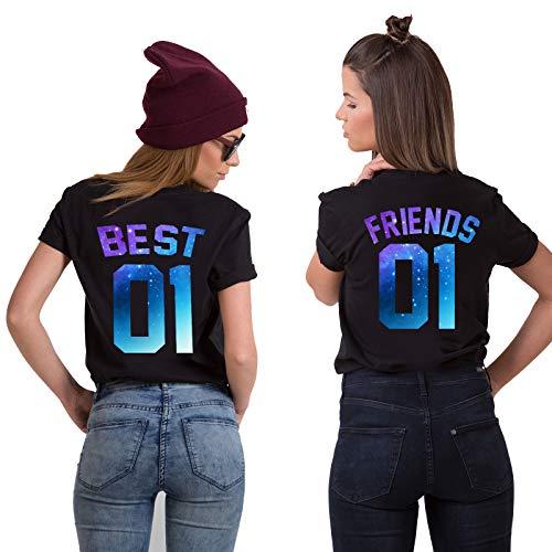 Best Friends T-Shirts für 2 Mädchen Sister Aufdruck - Sommer Oberteile Set für Zwei Damen - Beste Freunde Freundin BFF Geburtstagsgeschenk (Starry Night, Best-S + Friends-XS) (Für Freunde Sachen)