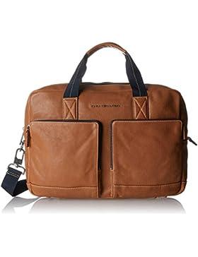 Tommy Hilfiger Herren Casual Leather Computer Bag Laptop Tasche, Braun (Cognac), 10 x 30 x 40 cm