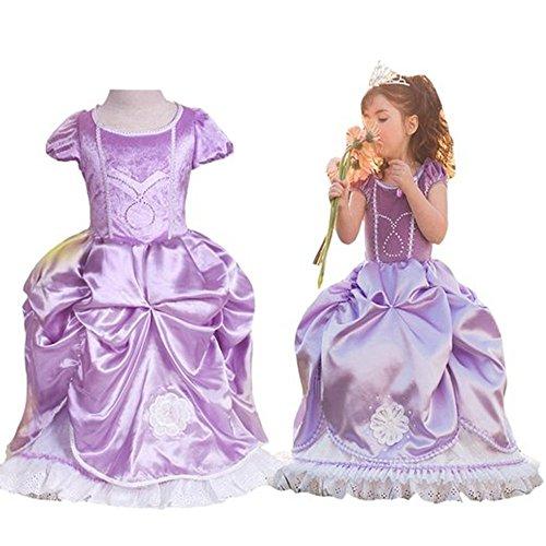 GenialES Costume Vestito Porpora da Ragazze Principessa Cenerentola per Partito Cosplay Halloween Carnevale Compleanno