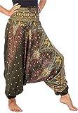Lofbaz Damen 2 in 1 Haremshose & Jumpsuit Pfauendruck Dunkelgrün S