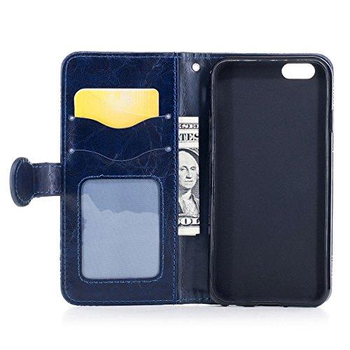"""MOONCASE iPhone 5/iPhone 5s/iPhone SE Coque, [Style Rétro] Durable PU Cuir Flip Housse TPU Souple Anti-dérapante Shock Absorption Protection Etui Case pour iPhone 5/5s/iPhone SE 4.0"""" Marron Bleu"""