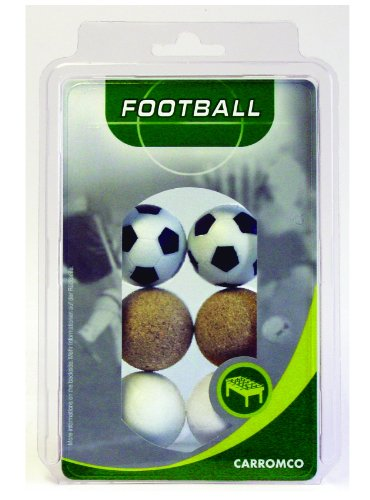 Carromco - Pelotas de futbolín (2 color negro y blanco, 2 color blanco, 2 corcho natural)