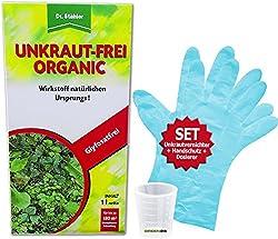 GREEN24 Unkraut-Frei Organic 1 Liter | Dr. Stähler | EIN Total Unkrautvernichter und Unkraut Entferner inkl Handschutz, Dosierer